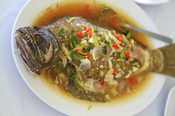 The catch of the day - fresh Barramundi braised in local spices