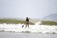 SUP experts get stoked when surf's up in Tanjung Resang
